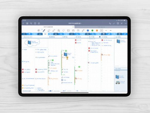 Produktbild: Planer 2021 B8 Q1 Wochenjournal, Bild (jpg) zeigt das Wochenjournal des blauen Planers mit 2 Spalten für Aufgaben und 6 Spalten für Notizen und Journaling, Planer 2021 B8 mit EmoLog und Notizen, Journaling