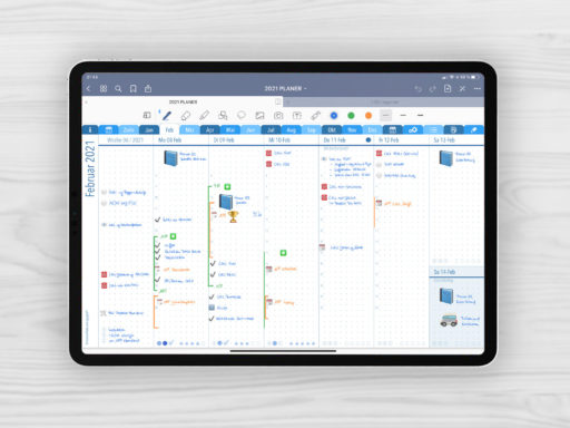 Produktbild: Planer 2021 B7 Q1 Wochenjournal, Bild (jpg) zeigt das Wochenjournal des blauen Planers mit 1 Spalte für Aufgaben und 6 Spalten für Notizen und Journaling, Planer 2021 B7 mit EmoLog und Notizen, Journaling