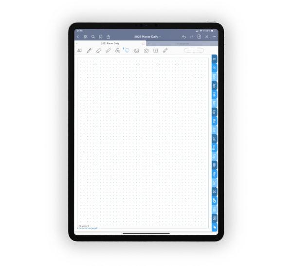 Bild für Shop Produktgallerie Planer 2021 Daily: Kalender Journal Blau für iPad 11.0 Ankündigung, Notizseite gepunktet dottet für EmoLog und Notizen, Journaling
