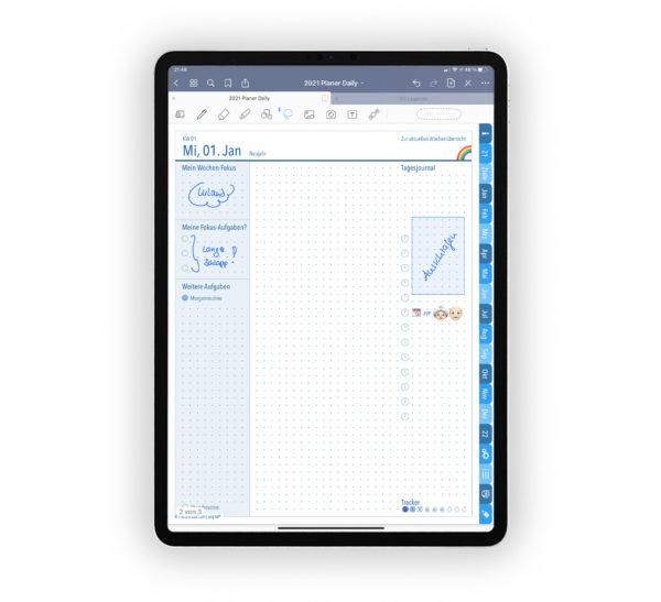 Bild für Shop Produktgallerie Planer 2021 Daily: Kalender Journal Blau für iPad 11.0 Ankündigung, Tagesjournal mit EmoLog und Notizen, Journaling