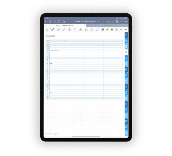 Produktgalleriebild für Shop Bullet Journal mit Register blau für iPad 11.0 Future Log Januar 2021