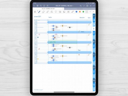 Produktgalleriebild für Shop Bullet Journal mit Register blau für iPad 11.0 Future Log Januar 2021 Notizen und Journaling beispielhaft gefüllt