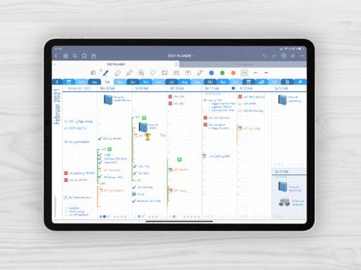 Produktbild für Shop Planer 2021 Journal Kalender Wochenjournal Blau 7 Spalten breit für iPad 11.0 Wochenjournal Februar Woche 06/2021 mit EmoLog, Notizen und Journaling Muster