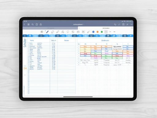 Produktbild für Shop Lehrerplaner 2020/2021 Muster Short Journal Kalender Stundenplan Blau für iPad 11.0 mit EmoLog, Notizen und Journaling Muster