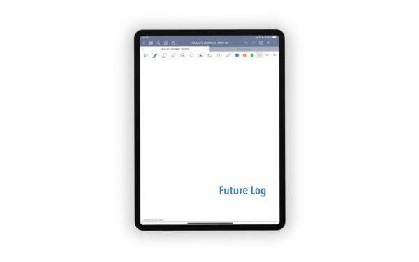 Bild (jpg) zeigt das Deckblatt des Future Logs des blauen Bullet Journals