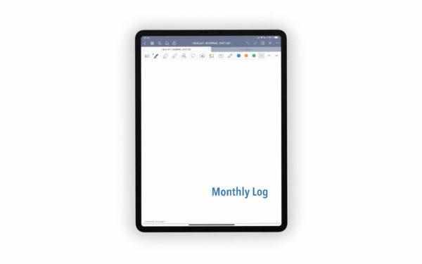 Bild (jpg) zeigt das Deckblatt des Monthly Logs des blauen Bullet Journals