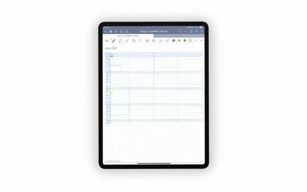 Bild (jpg) zeigt eine Seite des Monthly Log Planungskalenders des blauen Bullet Journals