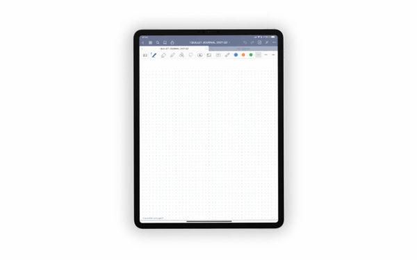 Bild (jpg) zeigt eine Vorlage mit Überschriftsbereich und Punkten des blauen Bullet Journals