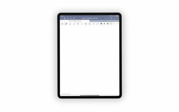 Bild (jpg) zeigt eine weiße Vorlage des blauen Bullet Journals