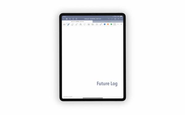 Bild (jpg) zeigt das Deckblatt des Future Logs des grauen Bullet Journals