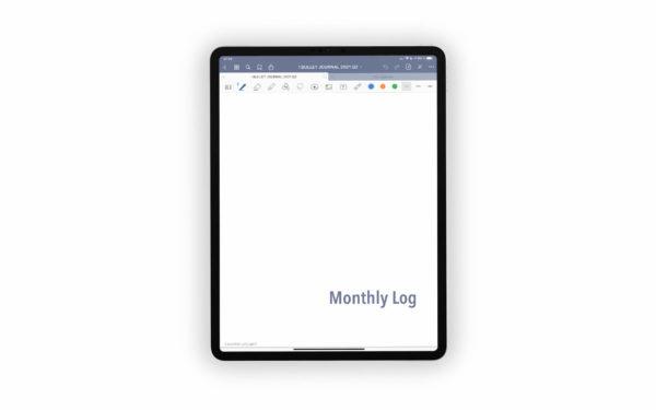 Bild (jpg) zeigt das Deckblatt des Monthly Logs des grauen Bullet Journals
