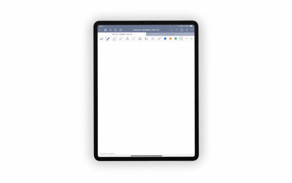 Bild (jpg) zeigt eine weiße Vorlage des grauen Bullet Journals