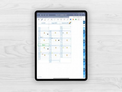 Produktbild fuer Shop Bullet Journal mit Register blau fuer iPad 11.0 Quartalsuebersicht beispielhaft ausgefuellt