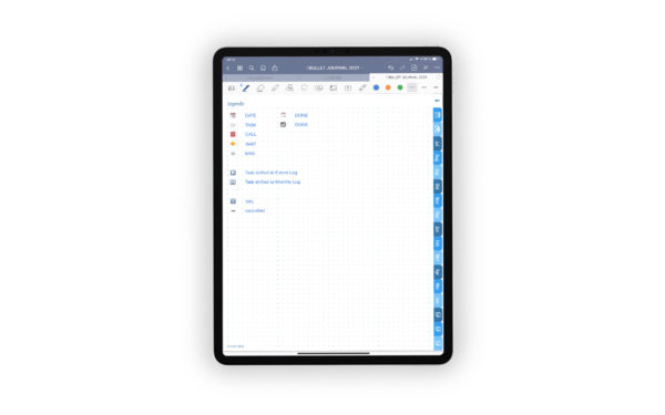 Produktgalleriebild fuer Shop Bullet Journal mit Register blau fuer iPad 11.0 Legende beispielhaft ausgefuellt