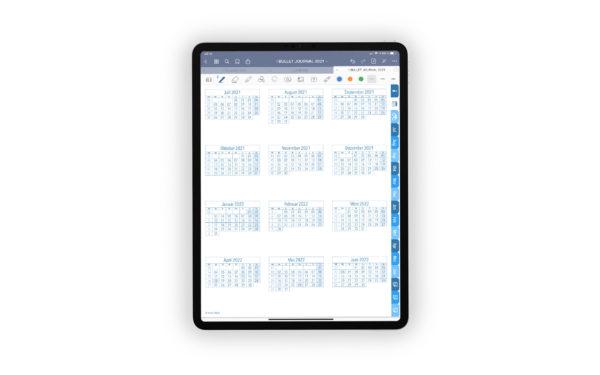 Produktgalleriebild fuer Shop Bullet Journal mit Register blau fuer iPad 11.0 Jahresuebersicht Juli 2021 bis Juni 2022