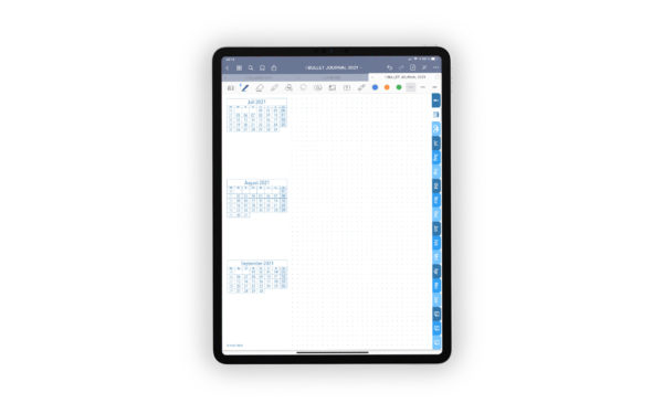 Produktgalleriebild fuer Shop Bullet Journal mit Register blau fuer iPad 11.0 Quartalsjournal drittes Quartal Juli 2021 bis September 2021