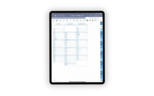 Produktgalleriebild fuer Shop Bullet Journal mit Register blau fuer iPad 11.0 Quartalsuebersicht drittes Quartal Juli 2021 bis September 2021