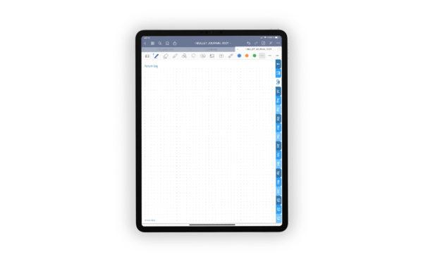 Produktgalleriebild fuer Shop Bullet Journal mit Register blau fuer iPad 11.0 Future-Log gepunktet mit Kopfzeile