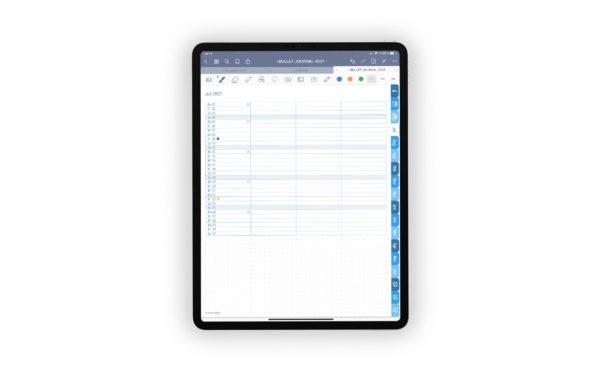 Produktgalleriebild fuer Shop Bullet Journal mit Register blau fuer iPad 11.0 Monthly Log Juli gepunktet