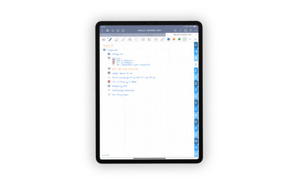 Produktgalleriebild fuer Shop Bullet Journal mit Register blau fuer iPad 11.0 Daily Log Juli 2021 beispielhaft ausgefuellt