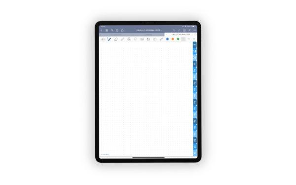 Produktgalleriebild fuer Shop Bullet Journal mit Register blau fuer iPad 11.0 Vorlage Gepunktet mit Kopfzeile