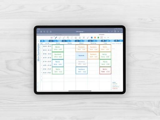 Produktbild fuer Shop Lehrerplaner Schuljahr 2021/2022 Long Journal Kalender Stundenplan Blau fuer iPad 11.0 beispielhaft gefuellt mit EmoLog, Notizen und Journaling Muster